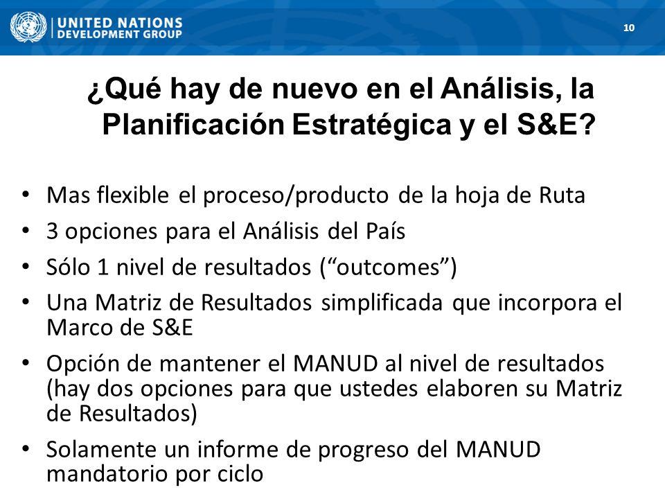1. Road Map 10 Mas flexible el proceso/producto de la hoja de Ruta 3 opciones para el Análisis del País Sólo 1 nivel de resultados (outcomes) Una Matr