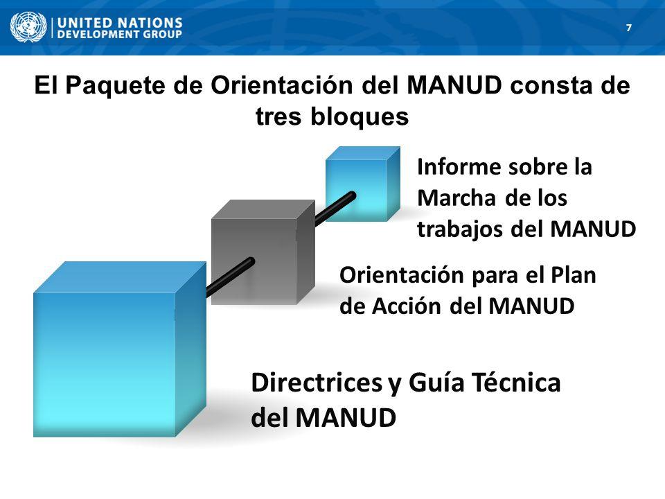 El Paquete de Orientación del MANUD consta de tres bloques 7 Informe sobre la Marcha de los trabajos del MANUD Orientación para el Plan de Acción del