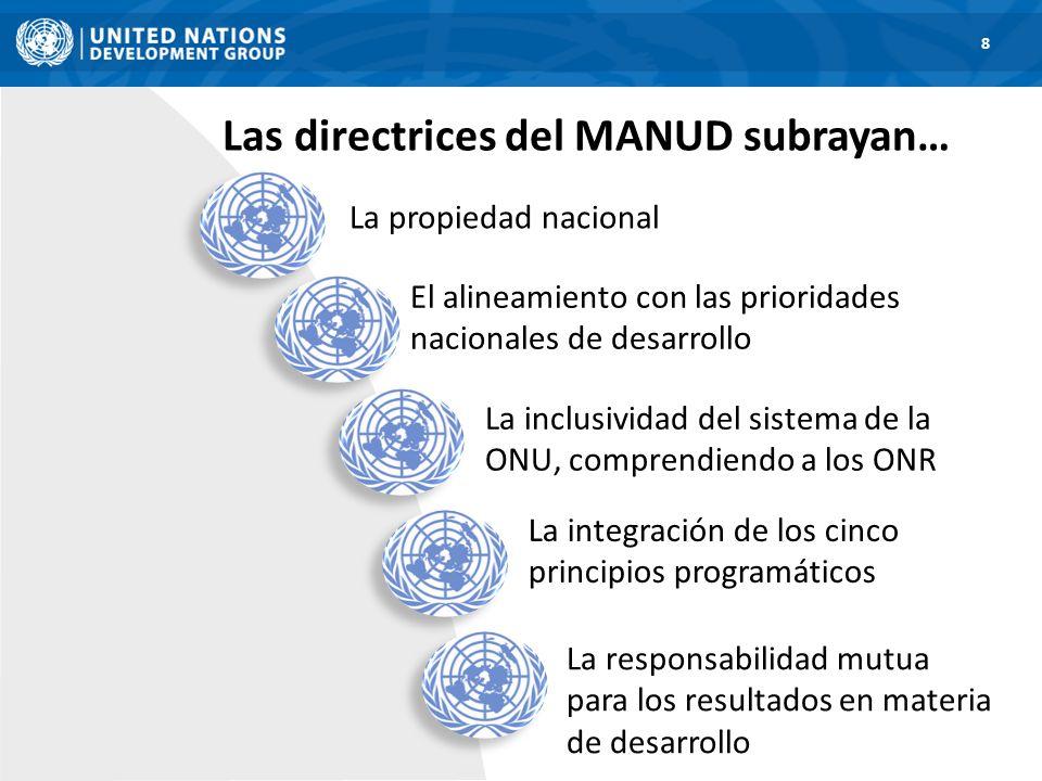 Las directrices del MANUD subrayan… 8 La propiedad nacional El alineamiento con las prioridades nacionales de desarrollo La inclusividad del sistema d