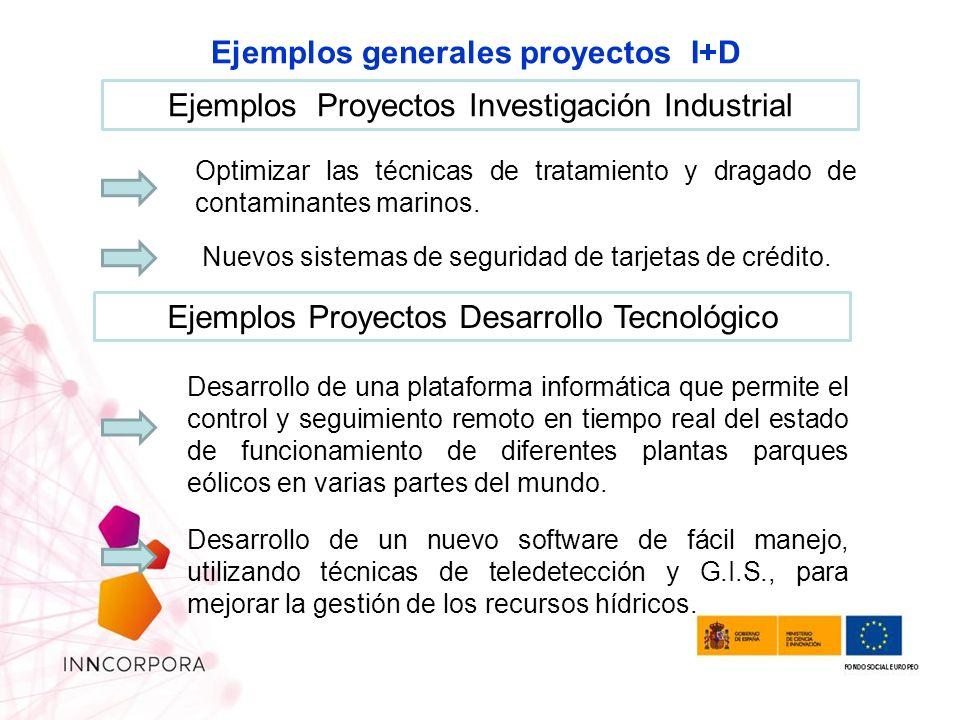 Ejemplos generales proyectos I+D Ejemplos Proyectos Investigación Industrial Ejemplos Proyectos Desarrollo Tecnológico Optimizar las técnicas de tratamiento y dragado de contaminantes marinos.