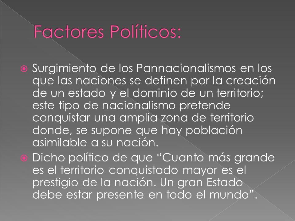Surgimiento de los Pannacionalismos en los que las naciones se definen por la creación de un estado y el dominio de un territorio; este tipo de nacion