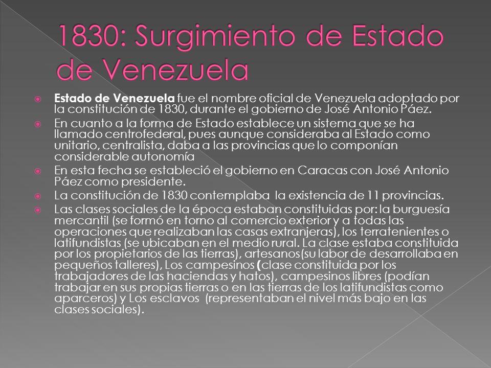 Estado de Venezuela fue el nombre oficial de Venezuela adoptado por la constitución de 1830, durante el gobierno de José Antonio Páez. En cuanto a la