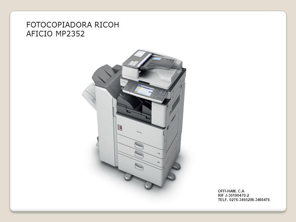 Compacta y asequible Los dispositivos AficioMP 2352SP/MP 2852/MP 2852SP/MP 3352/MP 3352SP, de elegante diseño, son Multifuncionales A3 de blanco y negro y están dotados de funciones avanzadas que les permiten realizar copias rentables, imprimir localmente a través de USB, enviar y recibir faxes y escanear en red.