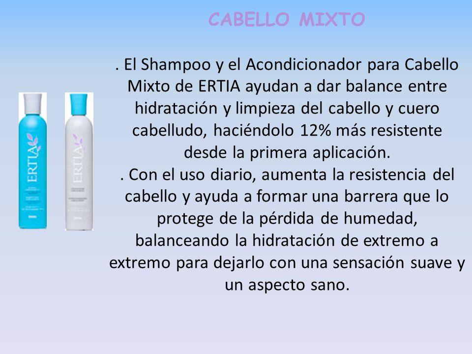 CABELLO MIXTO. El Shampoo y el Acondicionador para Cabello Mixto de ERTIA ayudan a dar balance entre hidratación y limpieza del cabello y cuero cabell