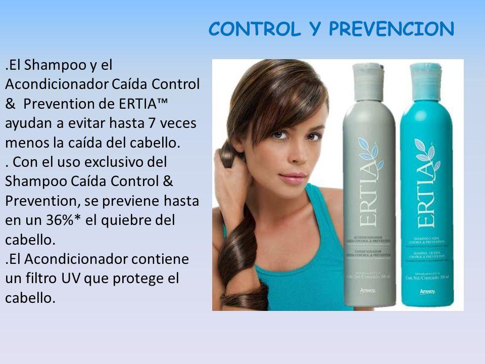 CONTROL Y PREVENCION.El Shampoo y el Acondicionador Caída Control & Prevention de ERTIA ayudan a evitar hasta 7 veces menos la caída del cabello.. Con
