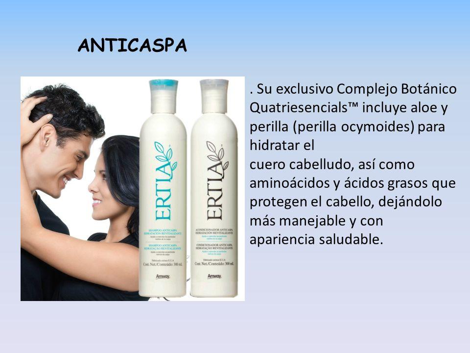 ANTICASPA. Su exclusivo Complejo Botánico Quatriesencials incluye aloe y perilla (perilla ocymoides) para hidratar el cuero cabelludo, así como aminoá