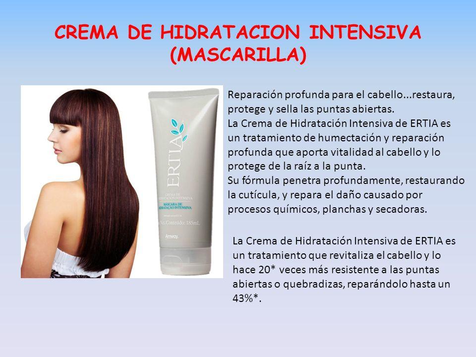 CREMA DE HIDRATACION INTENSIVA (MASCARILLA) Reparación profunda para el cabello...restaura, protege y sella las puntas abiertas. La Crema de Hidrataci