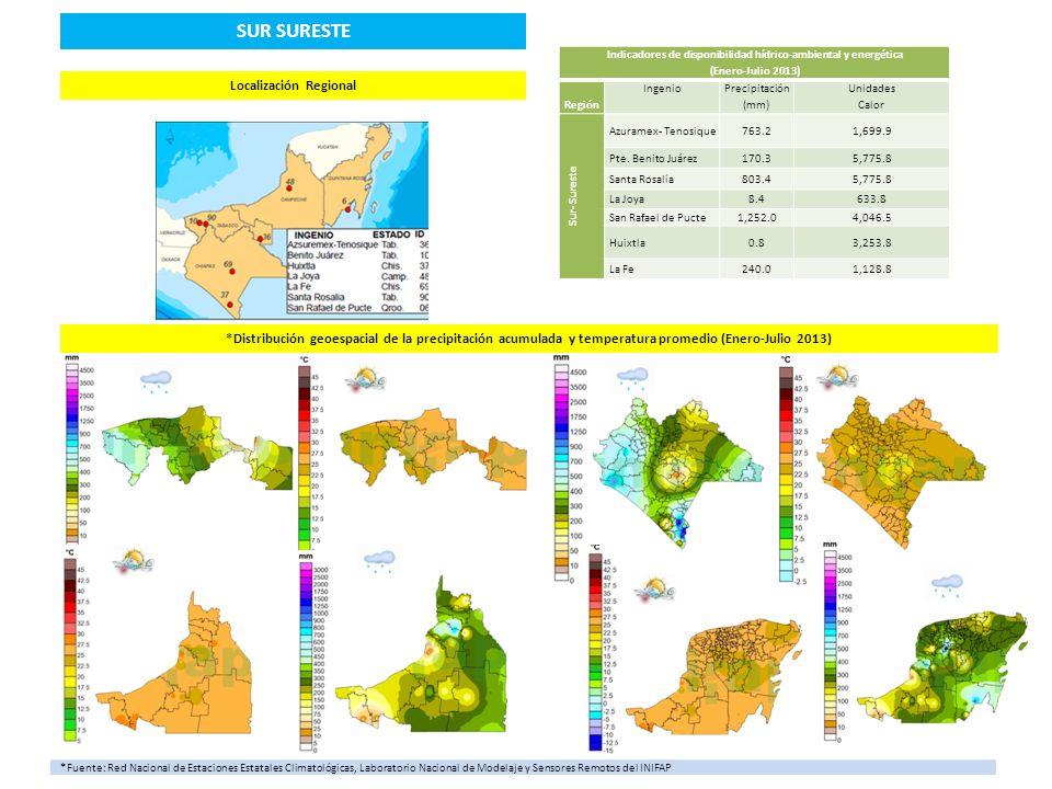 AzuramexPresidente Benito Juárez Santa Rosalía La Joya San Rafael PuctéHuixtla La Fe **Área de Influencia de los Ingenios SUR SURESTE Disponibilidad Hídrico- Ambiental 3,238.1 mm Representación Porcentual Hídrica 10.97% respecto al Total Regiones (29,515.9 mm) Balance Hídrico RegionalSin déficit respecto al mínimo óptimo (1,500 mm) Disponibilidad Energética22,314.40 UC Representación porcentual energética 17.47% respecto al Total Regiones (127,709.2UC) Porcentaje de Ingenios con Déficit Hídrico y Energético 100% Máximo Déficit Hídrico Ingenios Hasta 1,499.2 mm Máximo Déficit Energético Ingenios Hasta 5,716.2UC **Fuente: Desarrollo de un Sistema de Información Geográfica y Edáfica como fundamento de la Agricultura de Precisión en la caña de azúcar para México SIAP-CP-SAGARPA