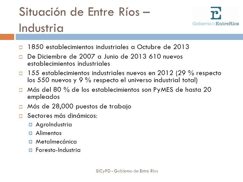 Situación de Entre Ríos – Industria SICyPD - Gobierno de Entre Ríos 1850 establecimientos industriales a Octubre de 2013 De Diciembre de 2007 a Junio