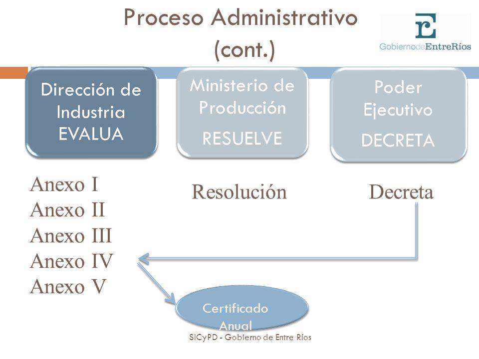 Proceso Administrativo (cont.) Dirección de Industria EVALUA Ministerio de Producción RESUELVE Resolución Anexo I Anexo II Anexo III Anexo IV Anexo V