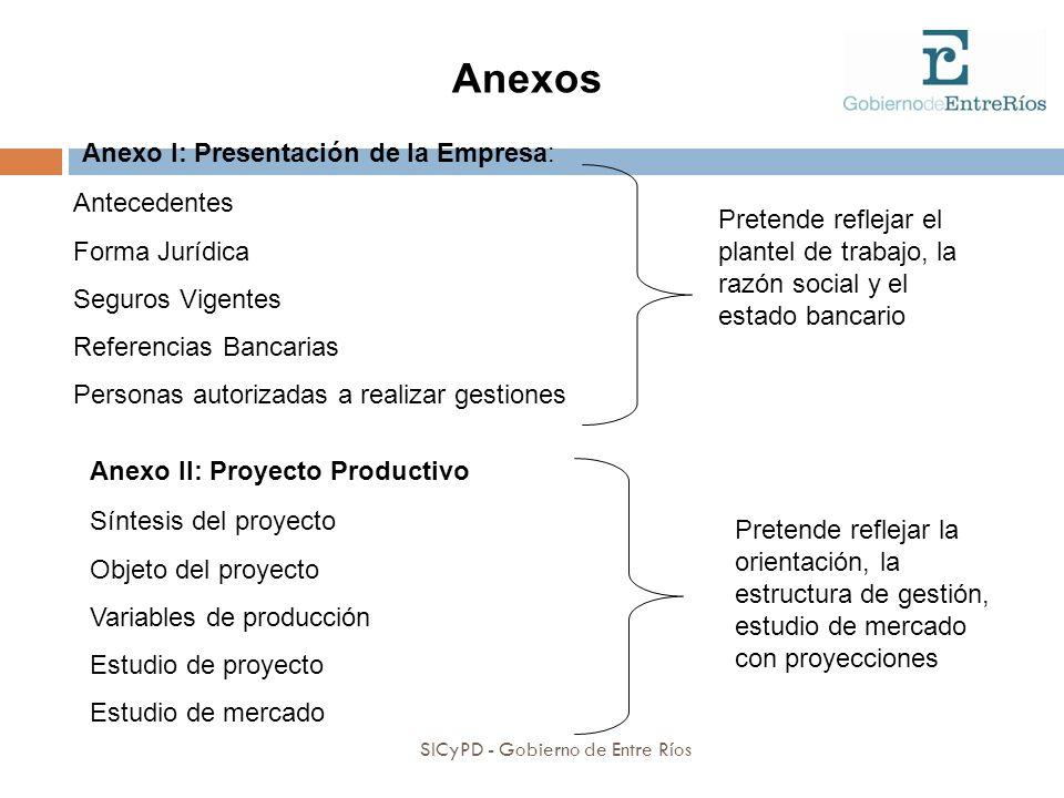 Anexo I: Presentación de la Empresa: Antecedentes Forma Jurídica Seguros Vigentes Referencias Bancarias Personas autorizadas a realizar gestiones Pret