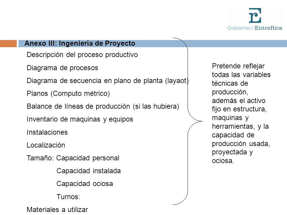 Anexo III: Ingeniería de Proyecto Descripción del proceso productivo Diagrama de procesos Diagrama de secuencia en plano de planta (layaot) Planos (Co