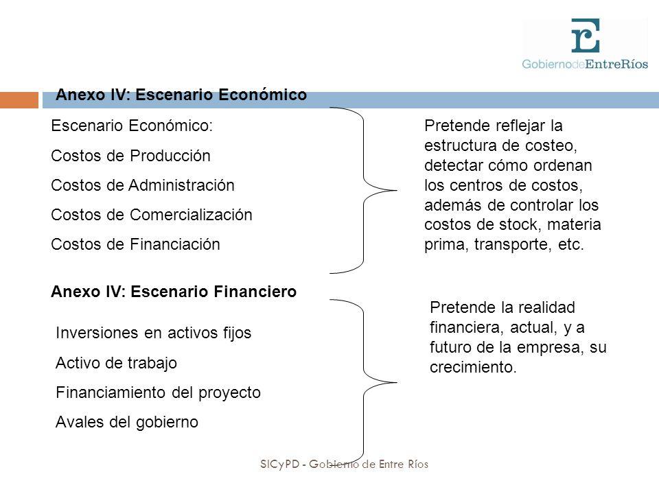 Anexo IV: Escenario Económico Escenario Económico: Costos de Producción Costos de Administración Costos de Comercialización Costos de Financiación Pretende reflejar la estructura de costeo, detectar cómo ordenan los centros de costos, además de controlar los costos de stock, materia prima, transporte, etc.
