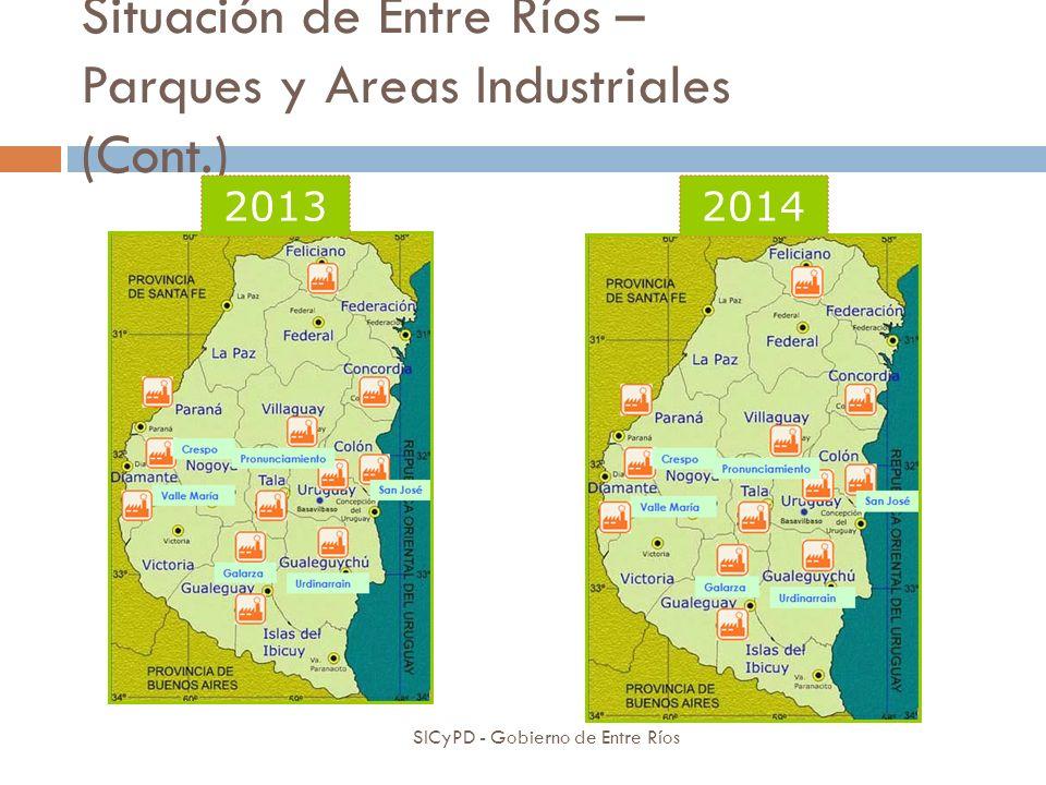 Situación de Entre Ríos – Parques y Areas Industriales (Cont.) SICyPD - Gobierno de Entre Ríos 20132014
