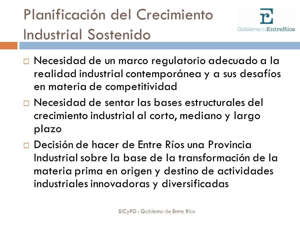 Planificación del Crecimiento Industrial Sostenido SICyPD - Gobierno de Entre Ríos Necesidad de un marco regulatorio adecuado a la realidad industrial
