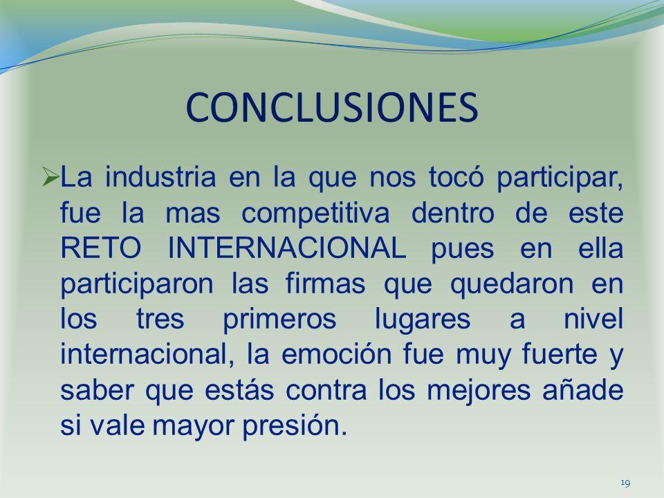 CONCLUSIONES La industria en la que nos tocó participar, fue la mas competitiva dentro de este RETO INTERNACIONAL pues en ella participaron las firmas