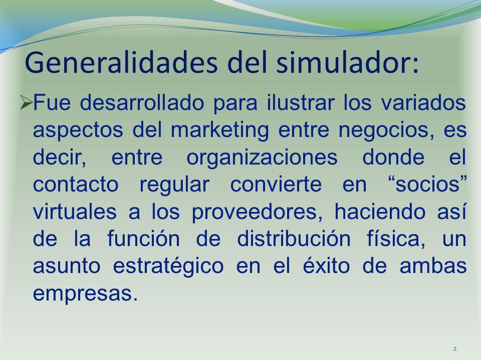 Generalidades del simulador: Fue desarrollado para ilustrar los variados aspectos del marketing entre negocios, es decir, entre organizaciones donde e