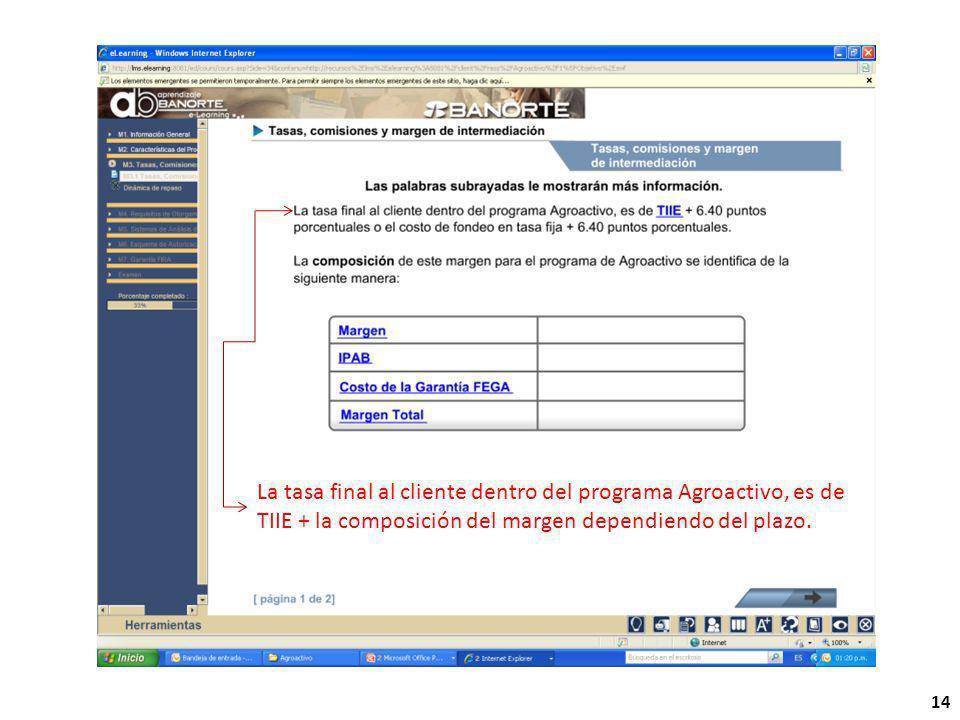 14 La tasa final al cliente dentro del programa Agroactivo, es de TIIE + la composición del margen dependiendo del plazo.