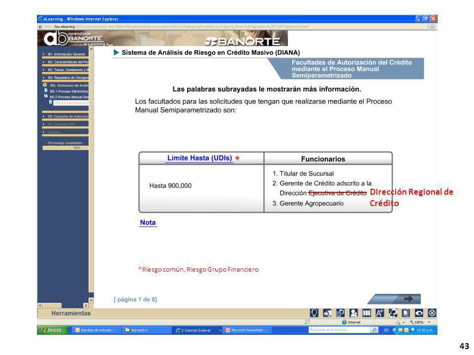 43 Dirección Regional de Crédito * *Riesgo común, Riesgo Grupo Financiero