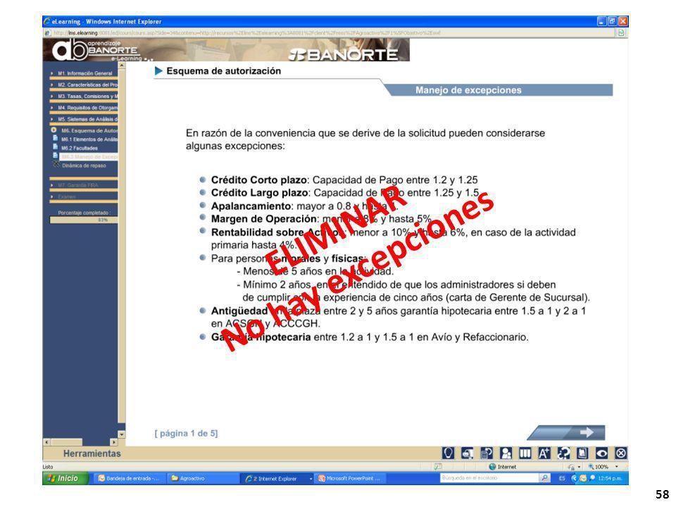 ELIMINAR No hay excepciones 58