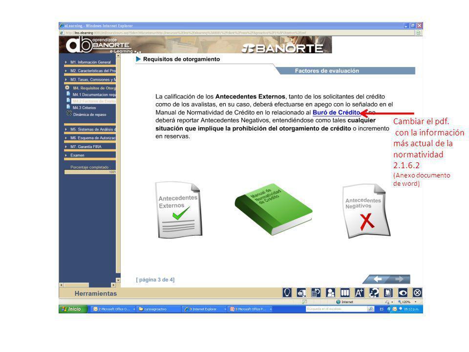 Cambiar el pdf. con la información más actual de la normatividad 2.1.6.2 (Anexo documento de word)