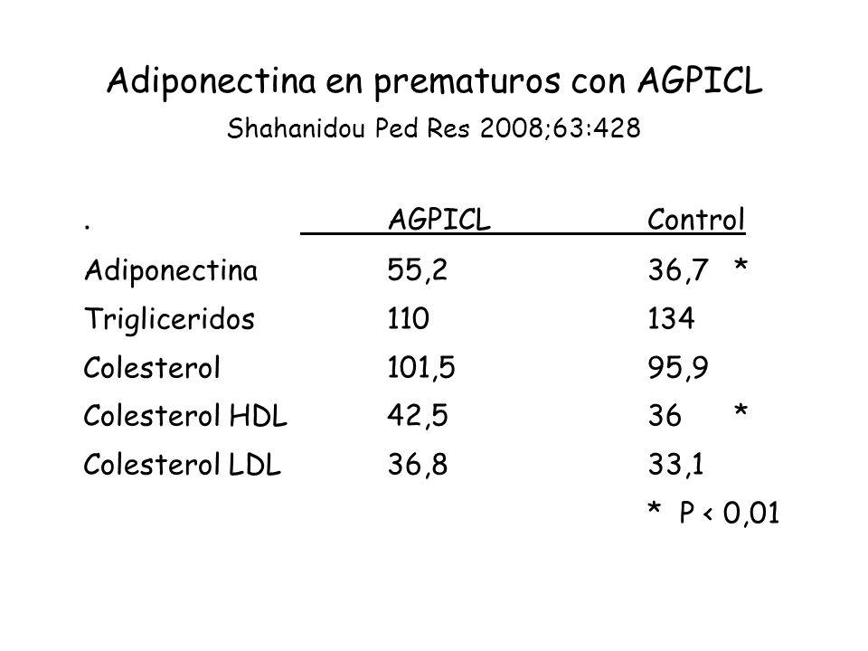 Adiponectina en prematuros con AGPICL Shahanidou Ped Res 2008;63:428.