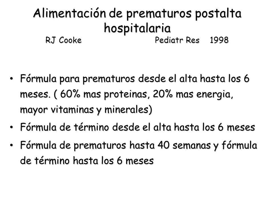 Alimentación de prematuros postalta hospitalaria RJ Cooke Pediatr Res 1998 Fórmula para prematuros desde el alta hasta los 6 meses.