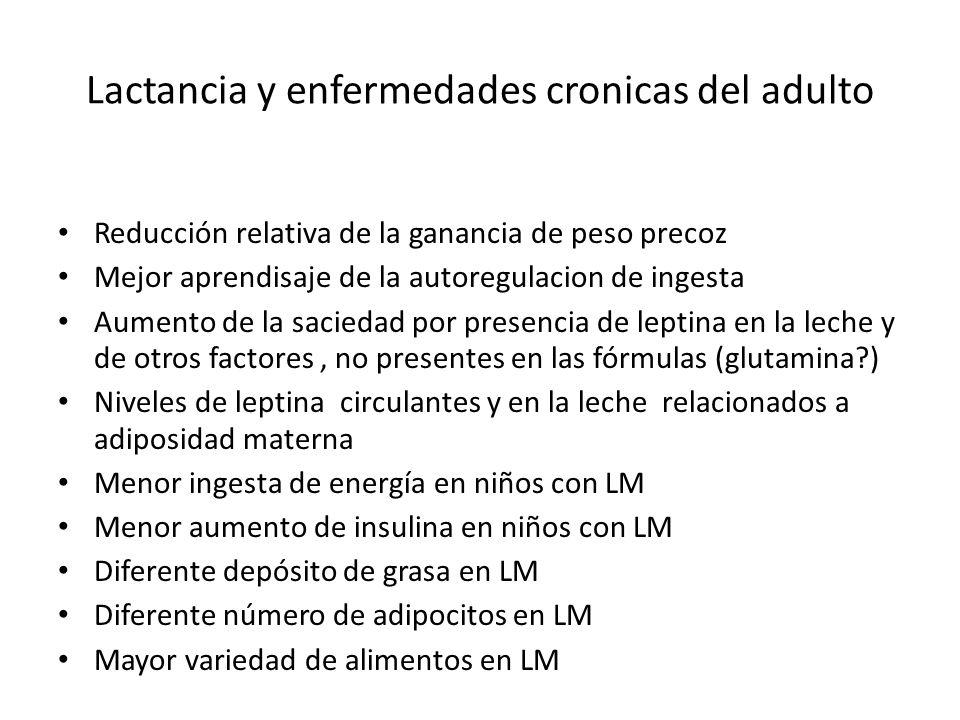 Lactancia y enfermedades cronicas del adulto Reducción relativa de la ganancia de peso precoz Mejor aprendisaje de la autoregulacion de ingesta Aumento de la saciedad por presencia de leptina en la leche y de otros factores, no presentes en las fórmulas (glutamina ) Niveles de leptina circulantes y en la leche relacionados a adiposidad materna Menor ingesta de energía en niños con LM Menor aumento de insulina en niños con LM Diferente depósito de grasa en LM Diferente número de adipocitos en LM Mayor variedad de alimentos en LM