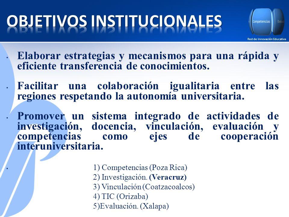 Red de Innovación Educativa Elaborar estrategias y mecanismos para una rápida y eficiente transferencia de conocimientos.