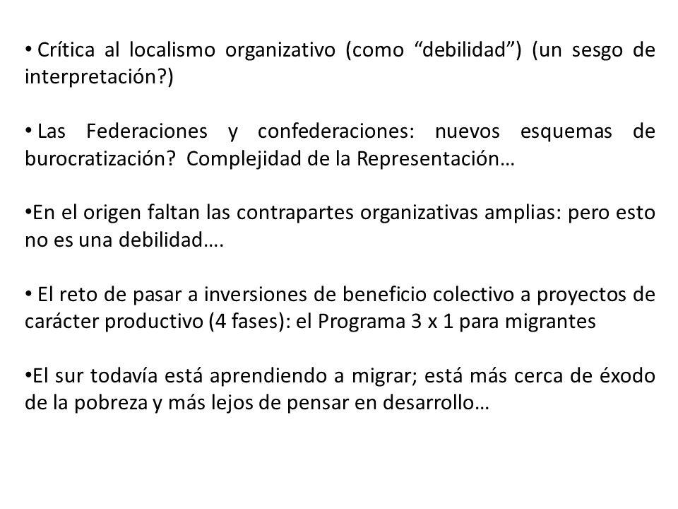 Crítica al localismo organizativo (como debilidad) (un sesgo de interpretación?) Las Federaciones y confederaciones: nuevos esquemas de burocratización.