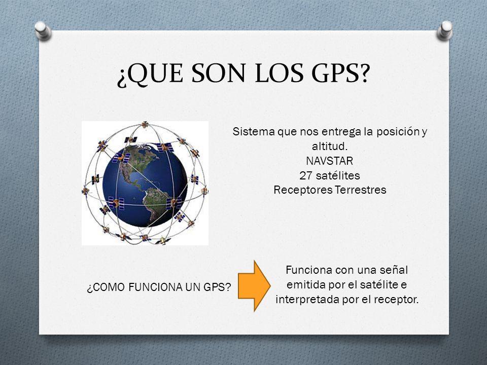 ¿QUE SON LOS GPS? Sistema que nos entrega la posición y altitud. NAVSTAR 27 satélites Receptores Terrestres ¿COMO FUNCIONA UN GPS? Funciona con una se