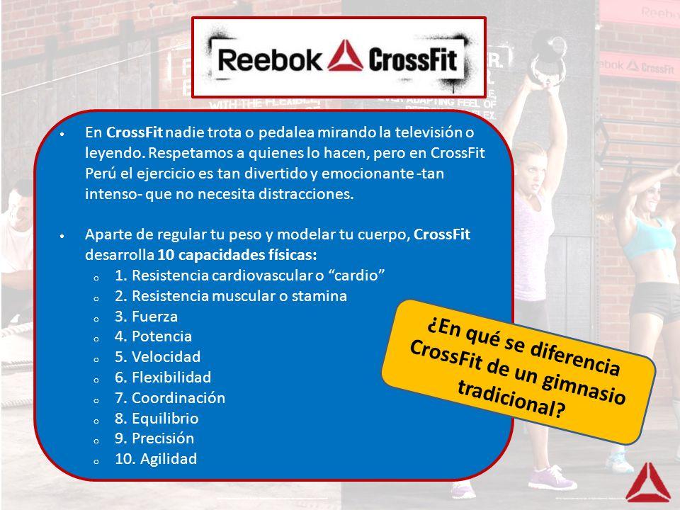 En CrossFit nadie trota o pedalea mirando la televisión o leyendo. Respetamos a quienes lo hacen, pero en CrossFit Perú el ejercicio es tan divertido
