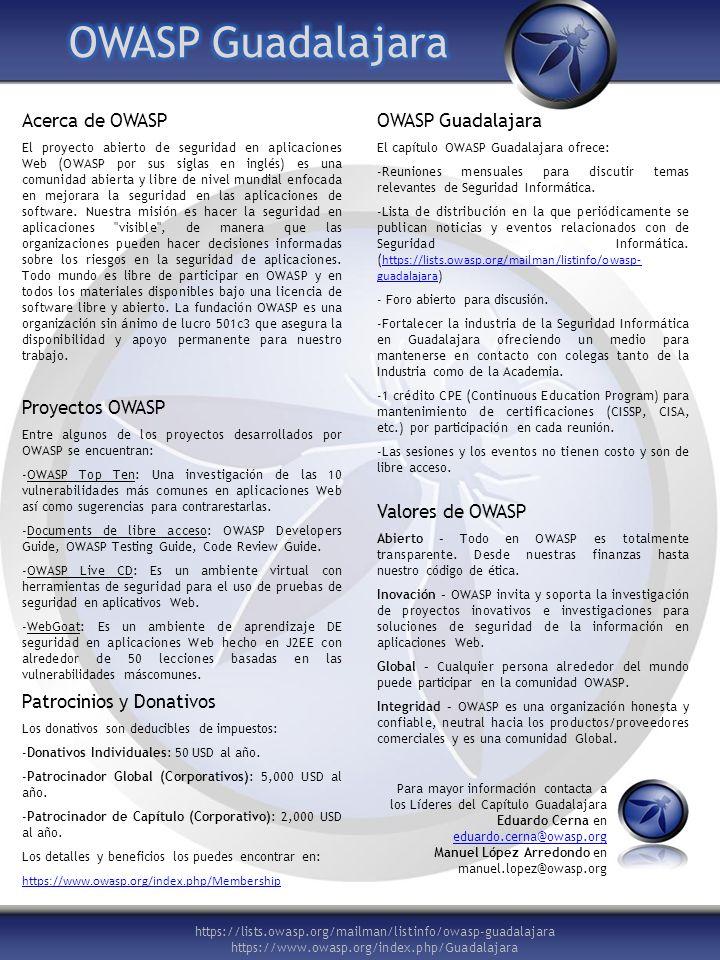 https://lists.owasp.org/mailman/listinfo/owasp-guadalajara https://www.owasp.org/index.php/Guadalajara Acerca de OWASP El proyecto abierto de segurida