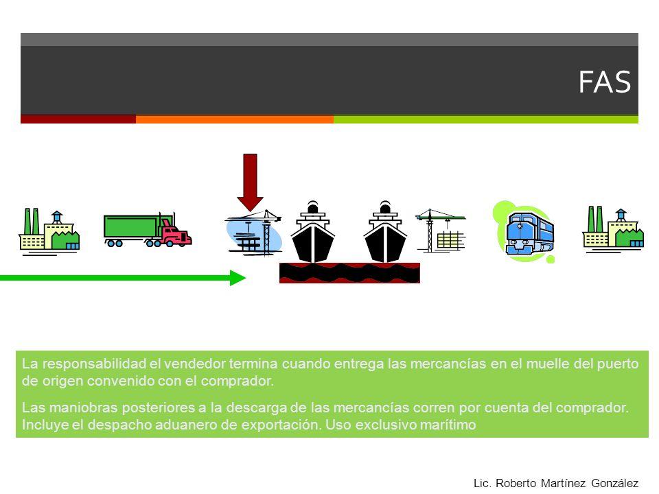 FAS La responsabilidad el vendedor termina cuando entrega las mercancías en el muelle del puerto de origen convenido con el comprador. Las maniobras p