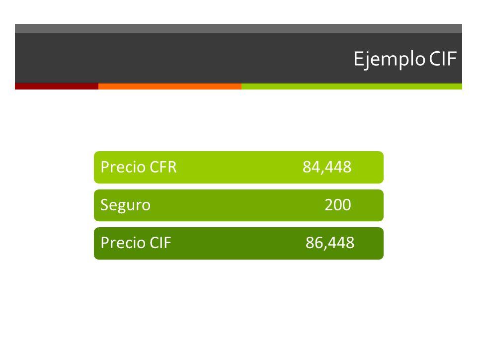 Ejemplo CIF Precio CFR 84,448Seguro 200Precio CIF 86,448