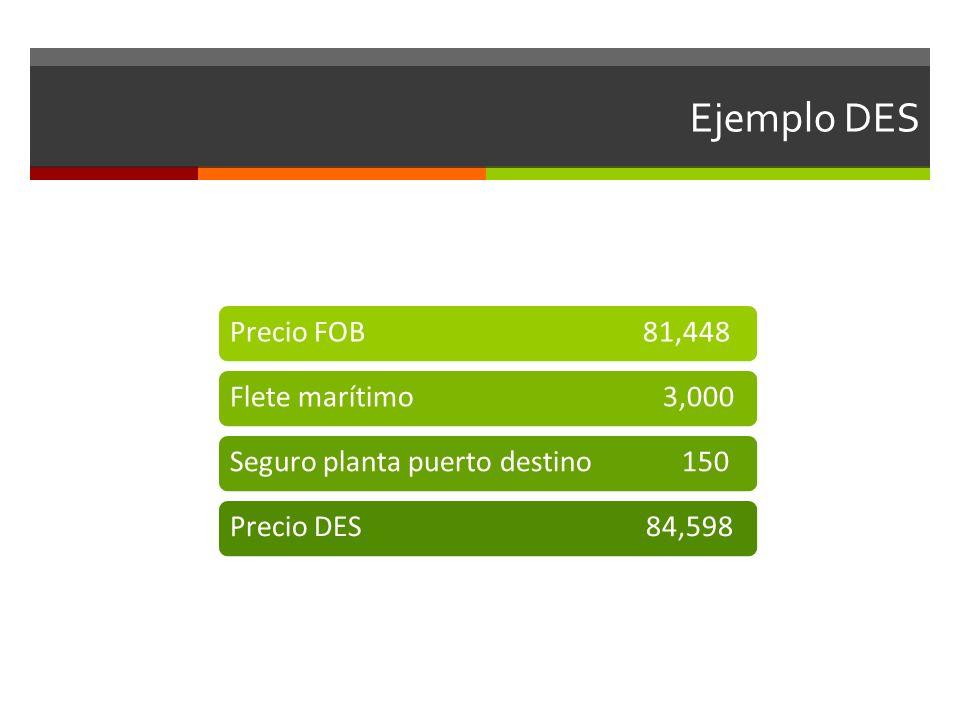 Ejemplo DES Precio FOB 81,448Flete marítimo 3,000Seguro planta puerto destino 150Precio DES 84,598