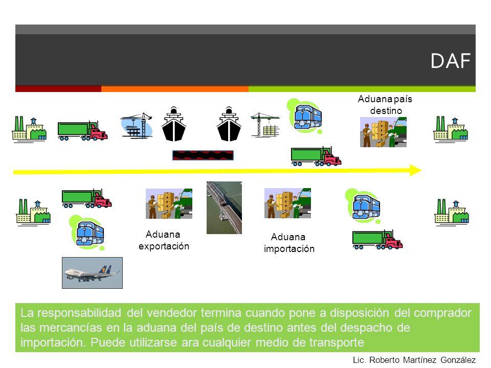 DAF Aduana país destino Aduana importación Aduana exportación La responsabilidad del vendedor termina cuando pone a disposición del comprador las merc