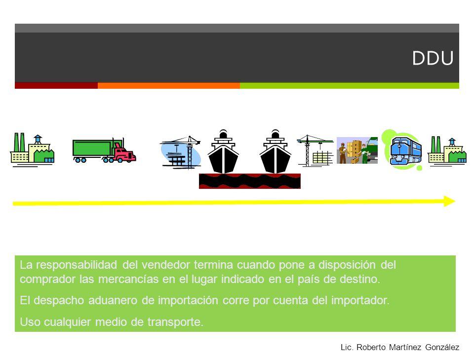 DDU La responsabilidad del vendedor termina cuando pone a disposición del comprador las mercancías en el lugar indicado en el país de destino. El desp