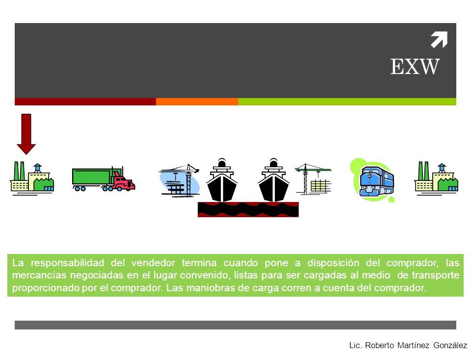 EXW La responsabilidad del vendedor termina cuando pone a disposición del comprador, las mercancías negociadas en el lugar convenido, listas para ser