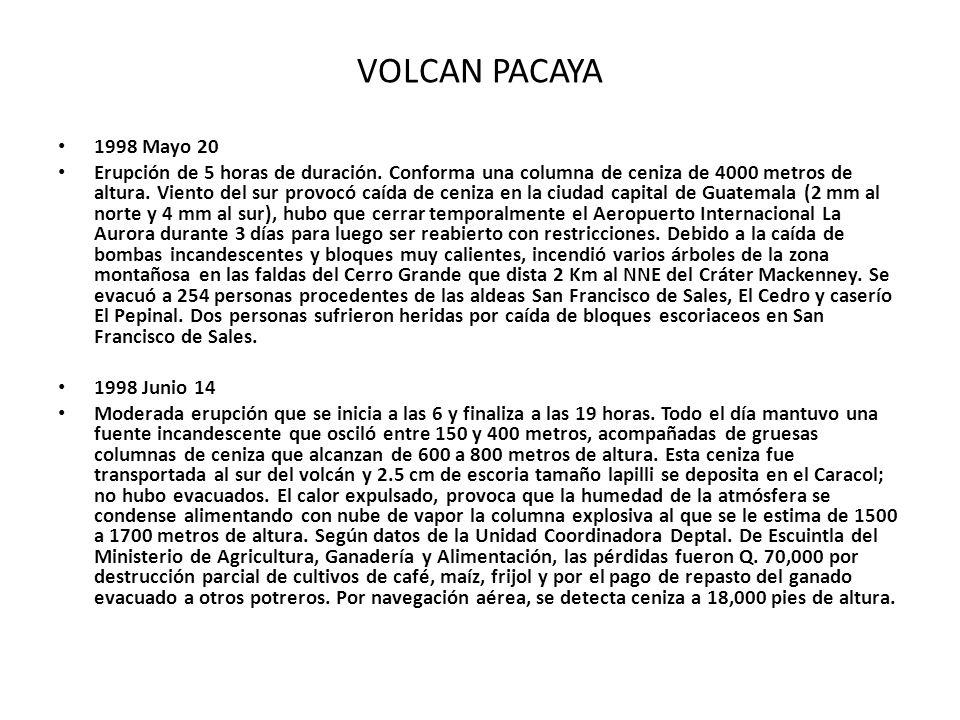 1998 Mayo 20 Erupción de 5 horas de duración. Conforma una columna de ceniza de 4000 metros de altura. Viento del sur provocó caída de ceniza en la ci