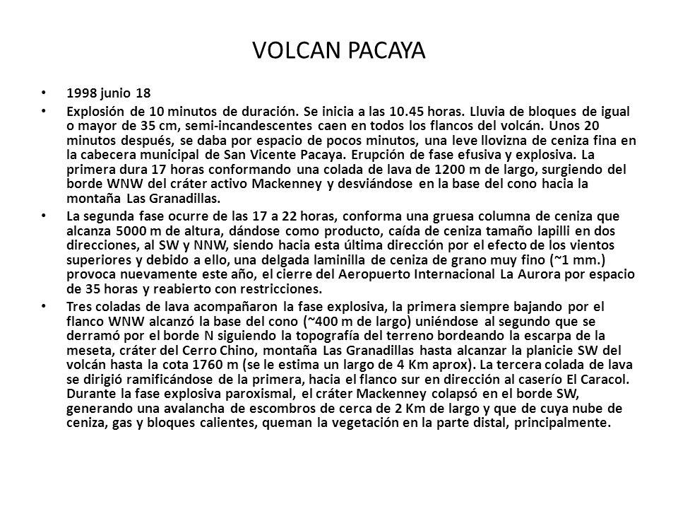 VOLCAN PACAYA 1998 junio 18 Explosión de 10 minutos de duración. Se inicia a las 10.45 horas. Lluvia de bloques de igual o mayor de 35 cm, semi-incand