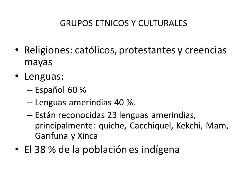 GRUPOS ETNICOS Y CULTURALES Religiones: católicos, protestantes y creencias mayas Lenguas: – Español 60 % – Lenguas amerindias 40 %. – Están reconocid
