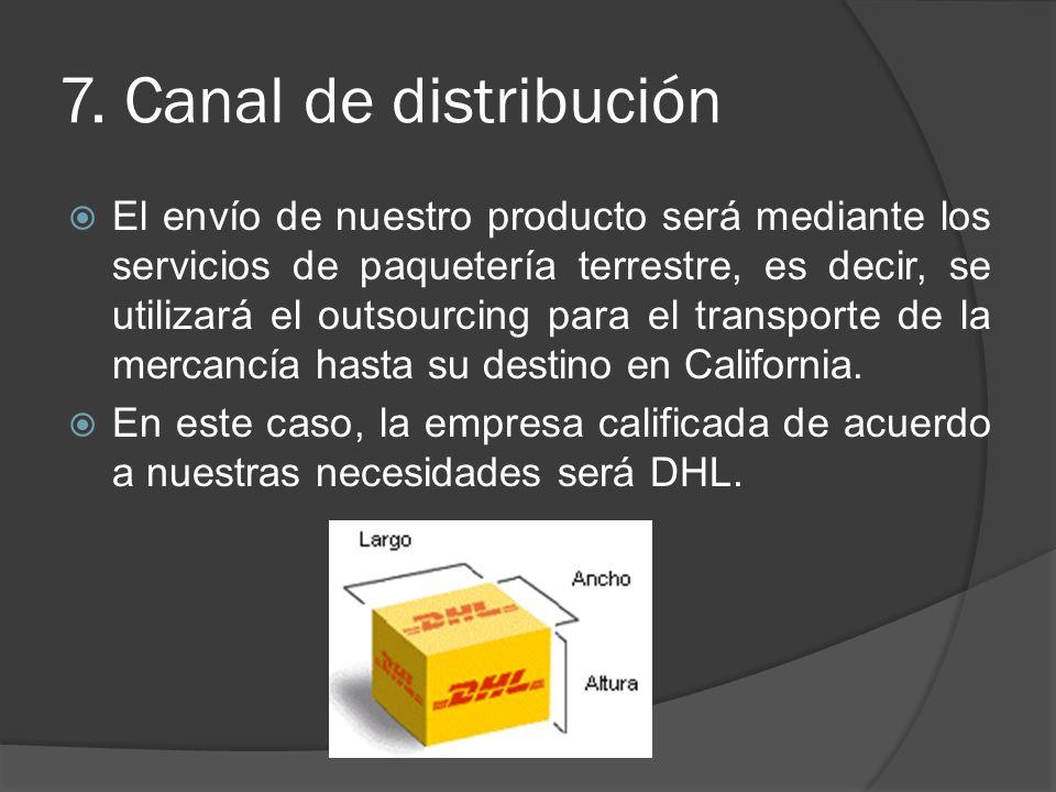 7. Canal de distribución El envío de nuestro producto será mediante los servicios de paquetería terrestre, es decir, se utilizará el outsourcing para