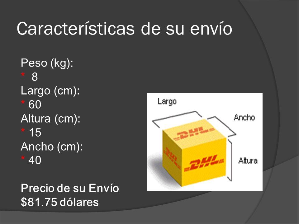 Características de su envío Peso (kg): * 8 Largo (cm): * 60 Altura (cm): * 15 Ancho (cm): * 40 Precio de su Envío $81.75 dólares