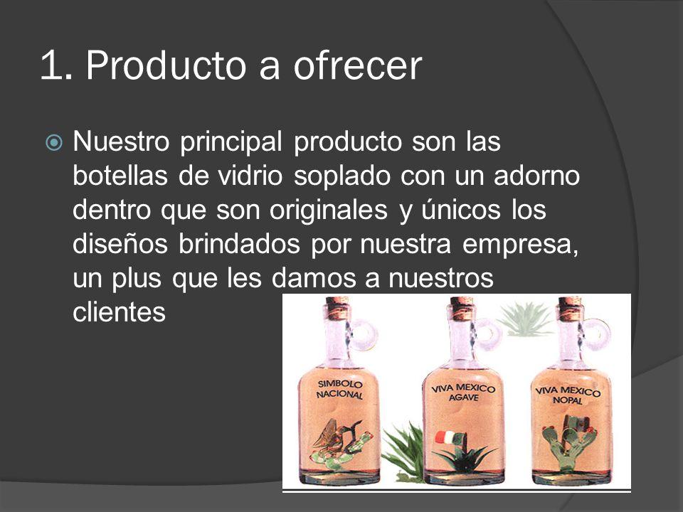 1. Producto a ofrecer Nuestro principal producto son las botellas de vidrio soplado con un adorno dentro que son originales y únicos los diseños brind