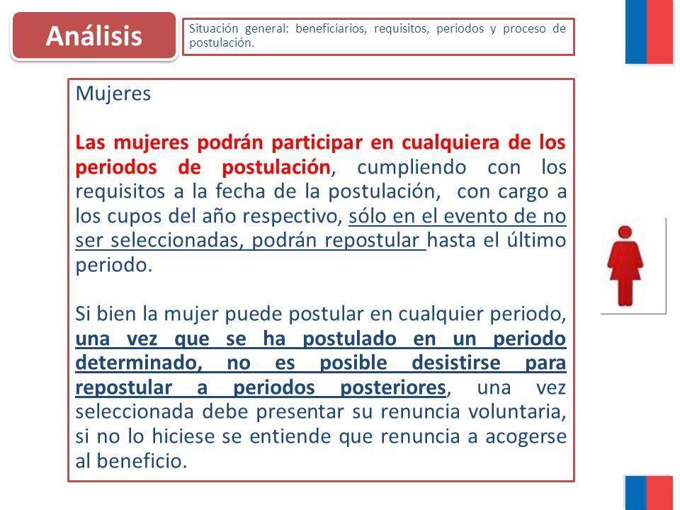 Análisis Situación general: beneficiarios, requisitos, periodos y proceso de postulación. Mujeres Las mujeres podrán participar en cualquiera de los p