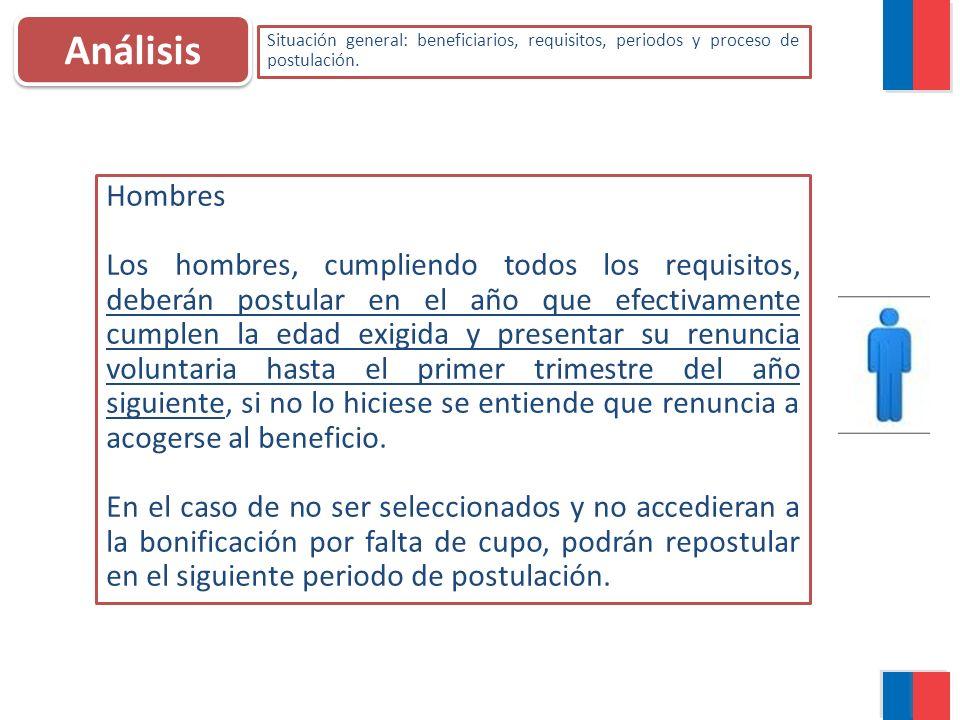 Análisis Situación general: beneficiarios, requisitos, periodos y proceso de postulación. Hombres Los hombres, cumpliendo todos los requisitos, deberá