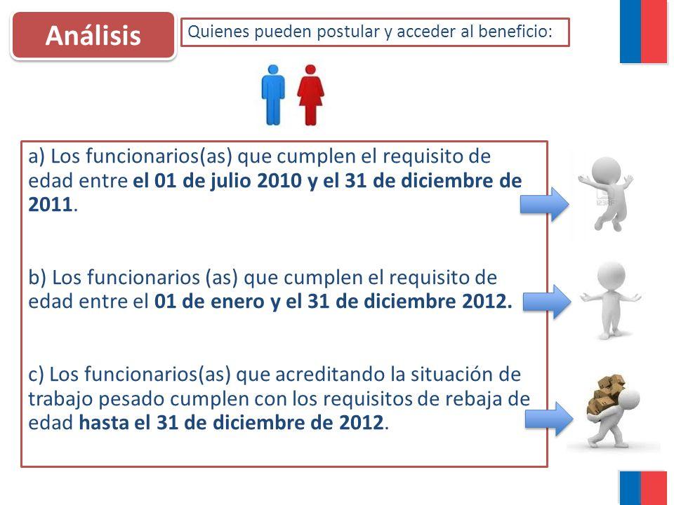 Análisis Quienes pueden postular y acceder al beneficio: a) Los funcionarios(as) que cumplen el requisito de edad entre el 01 de julio 2010 y el 31 de