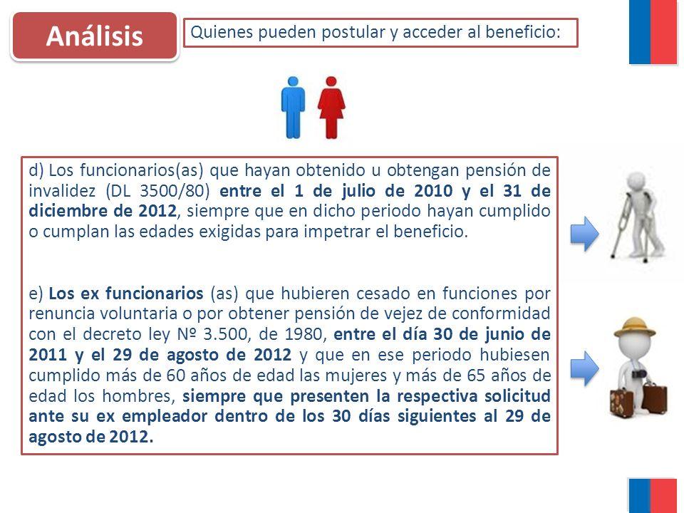 Análisis Quienes pueden postular y acceder al beneficio: d) Los funcionarios(as) que hayan obtenido u obtengan pensión de invalidez (DL 3500/80) entre