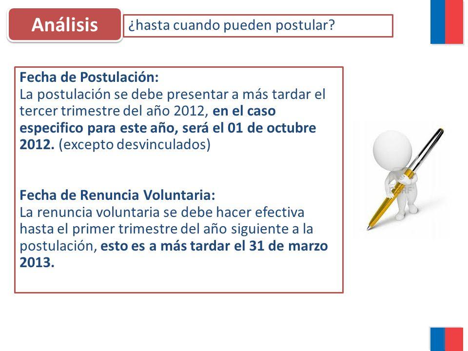 Análisis ¿hasta cuando pueden postular? Fecha de Postulación: La postulación se debe presentar a más tardar el tercer trimestre del año 2012, en el ca